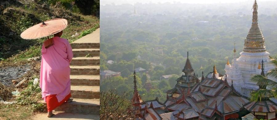 Photographie d'une none et de pagodes le long de l'Irrawady en Birmanie